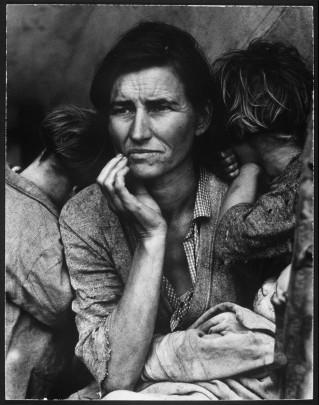 Dust Bowl sırasında bezelye-toplayıcı ve yedi çocuklu bir annenin endişe bekleyişi (1936)